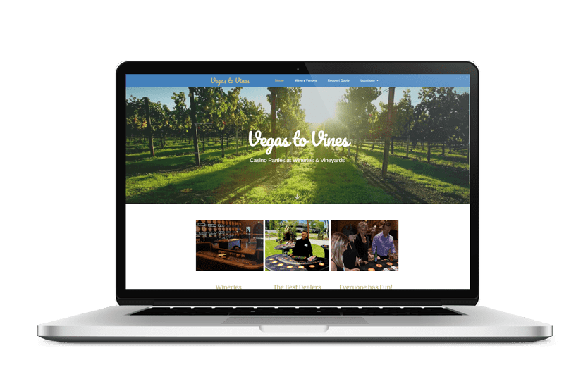 Live Web Design Vegas to Vines Mockup