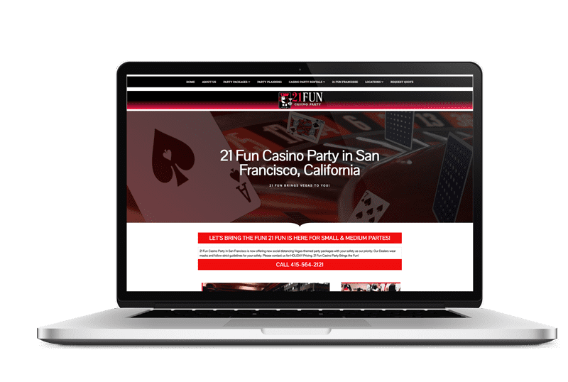21 Fun Casino Party Website Design in [location] by Live Web Design