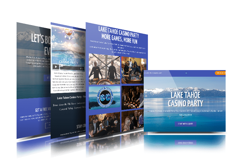 Lake Tahoe Casino Party Website on Laptop at Live Web Design